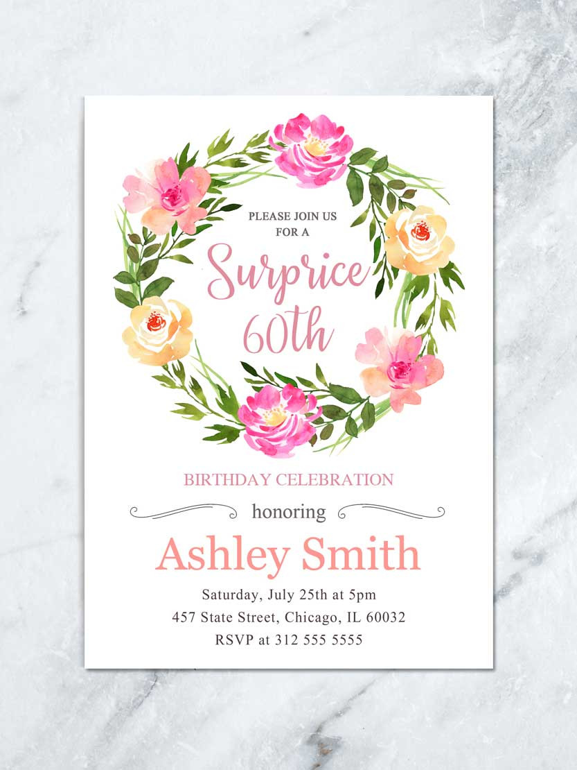 Best ideas about Floral Birthday Invitations . Save or Pin Floral Surprise Birthday Invite Boho Floral Birthday Now.