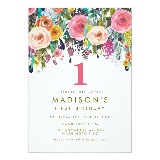 Best ideas about Floral Birthday Invitations . Save or Pin Painted Floral Girls 1st Birthday Invite Now.