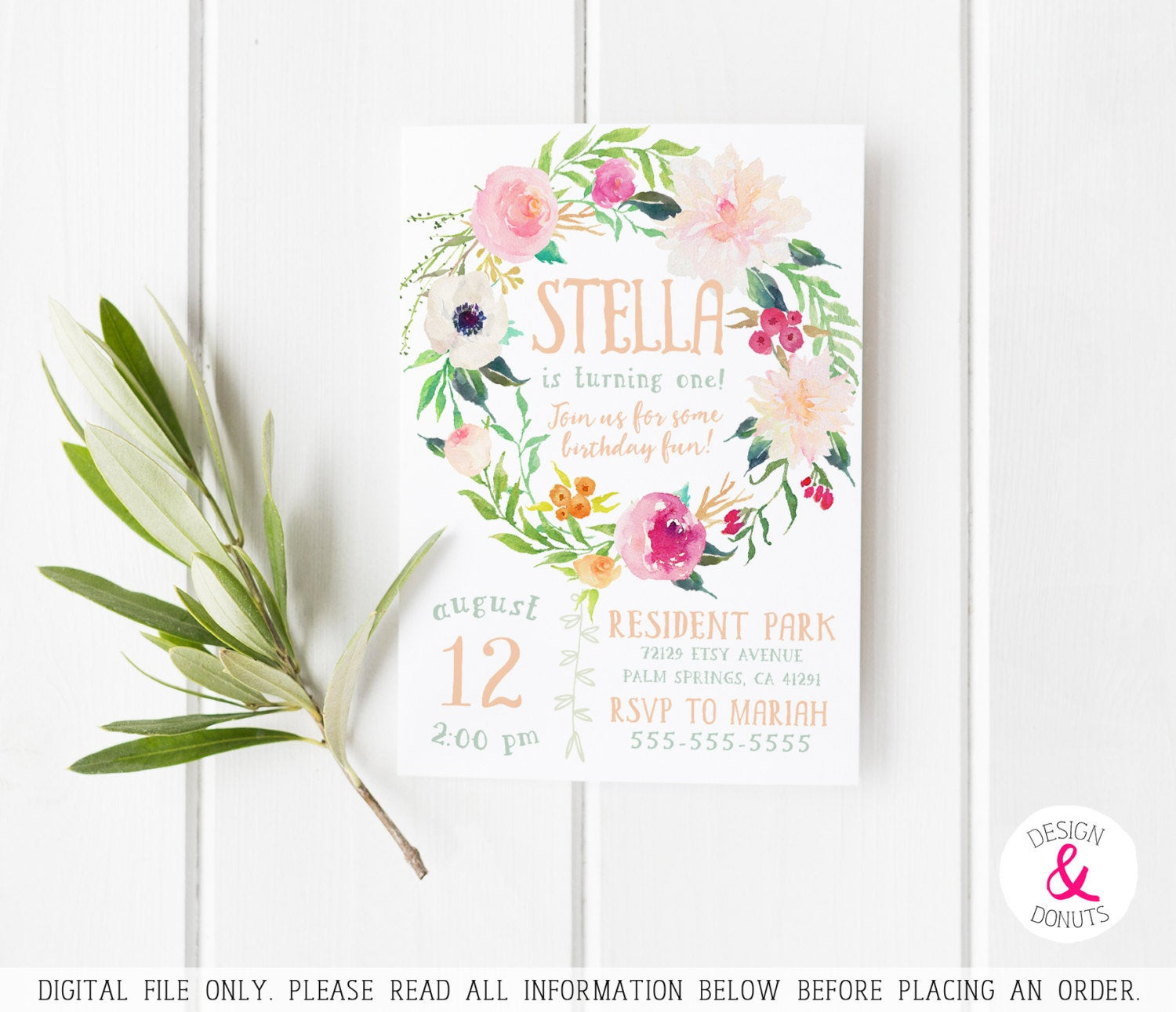 Best ideas about Floral Birthday Invitations . Save or Pin Boho Birthday Invitation Printable Girls Floral Peonies Now.