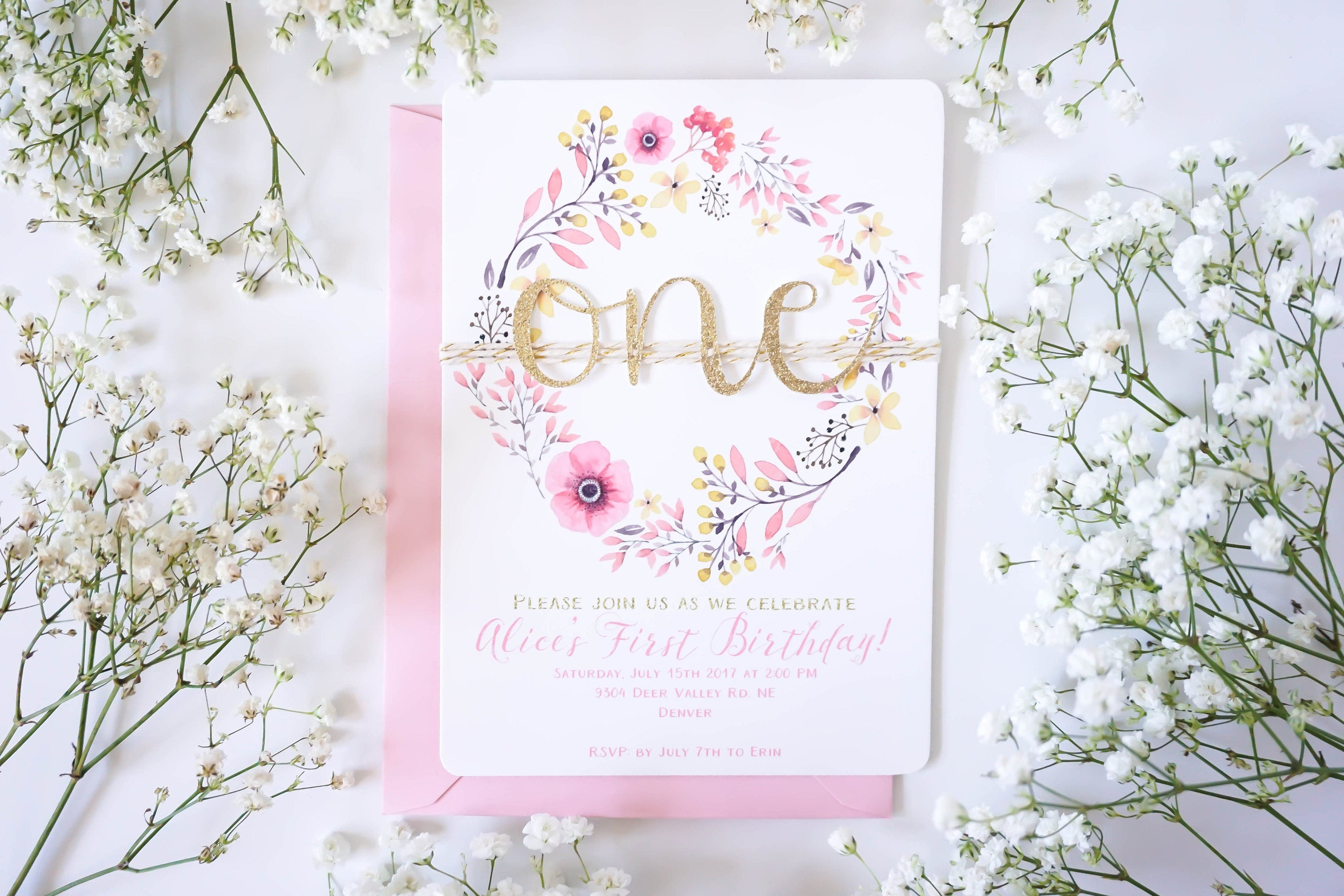 Best ideas about Floral Birthday Invitations . Save or Pin Boho first birthday invitation Floral 1st Birthday Now.