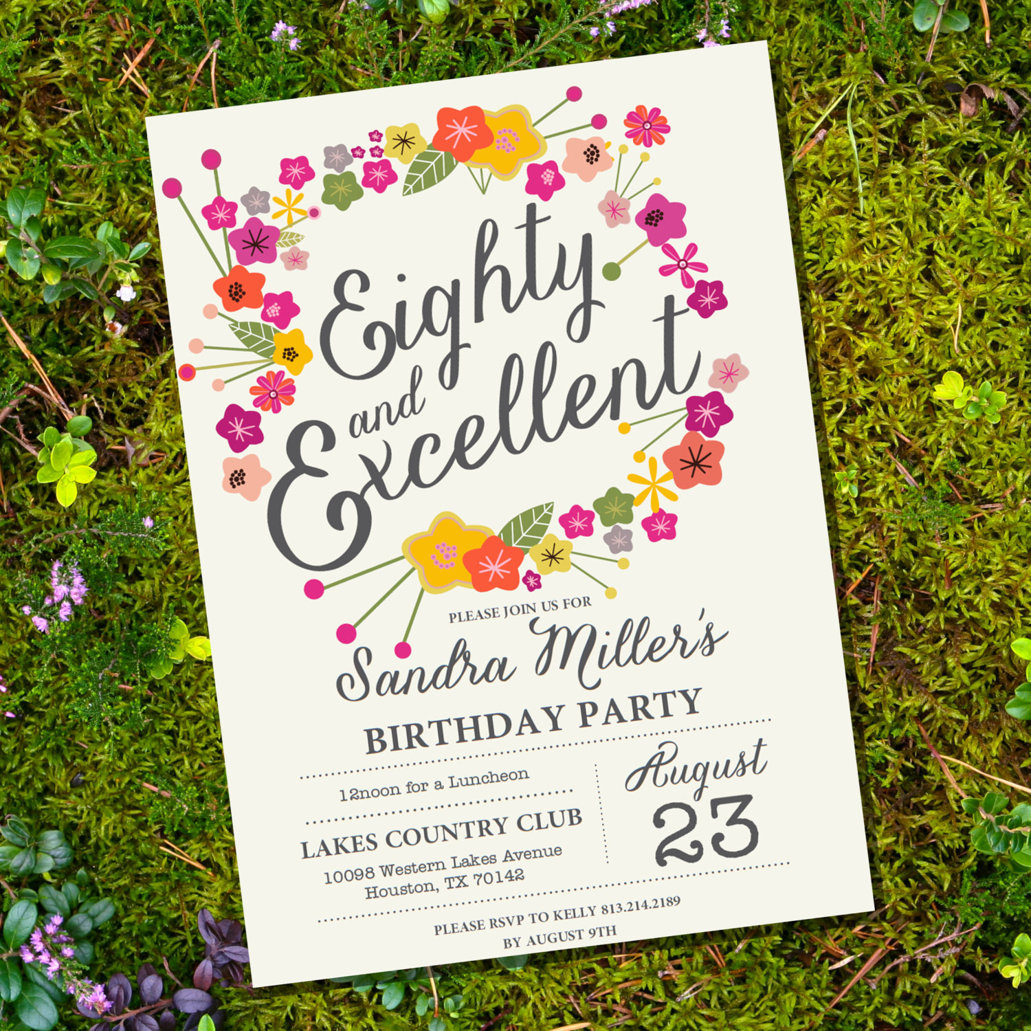 Best ideas about Floral Birthday Invitations . Save or Pin Floral Eightieth Birthday Invitation 80th birthday Now.