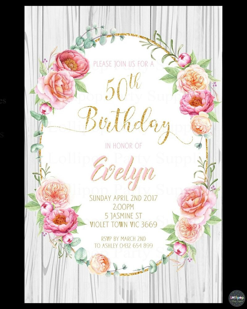 Best ideas about Floral Birthday Invitations . Save or Pin FLORAL INVITATION BIRTHDAY PARTY INVITE FLOWERS 18TH 21ST Now.