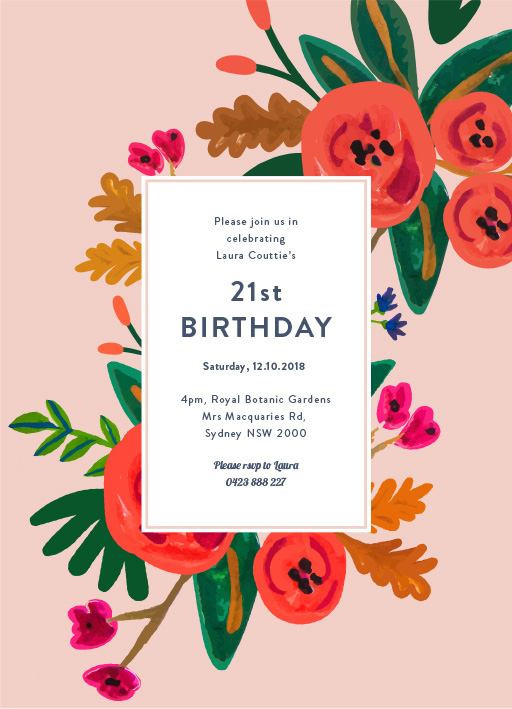 Best ideas about Floral Birthday Invitations . Save or Pin Birthday Party Invitations Now.