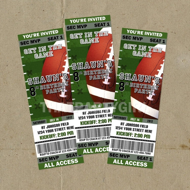Best ideas about Football Birthday Party Invitations . Save or Pin 12 Football Birthday Party Ticket Style Invitations Now.