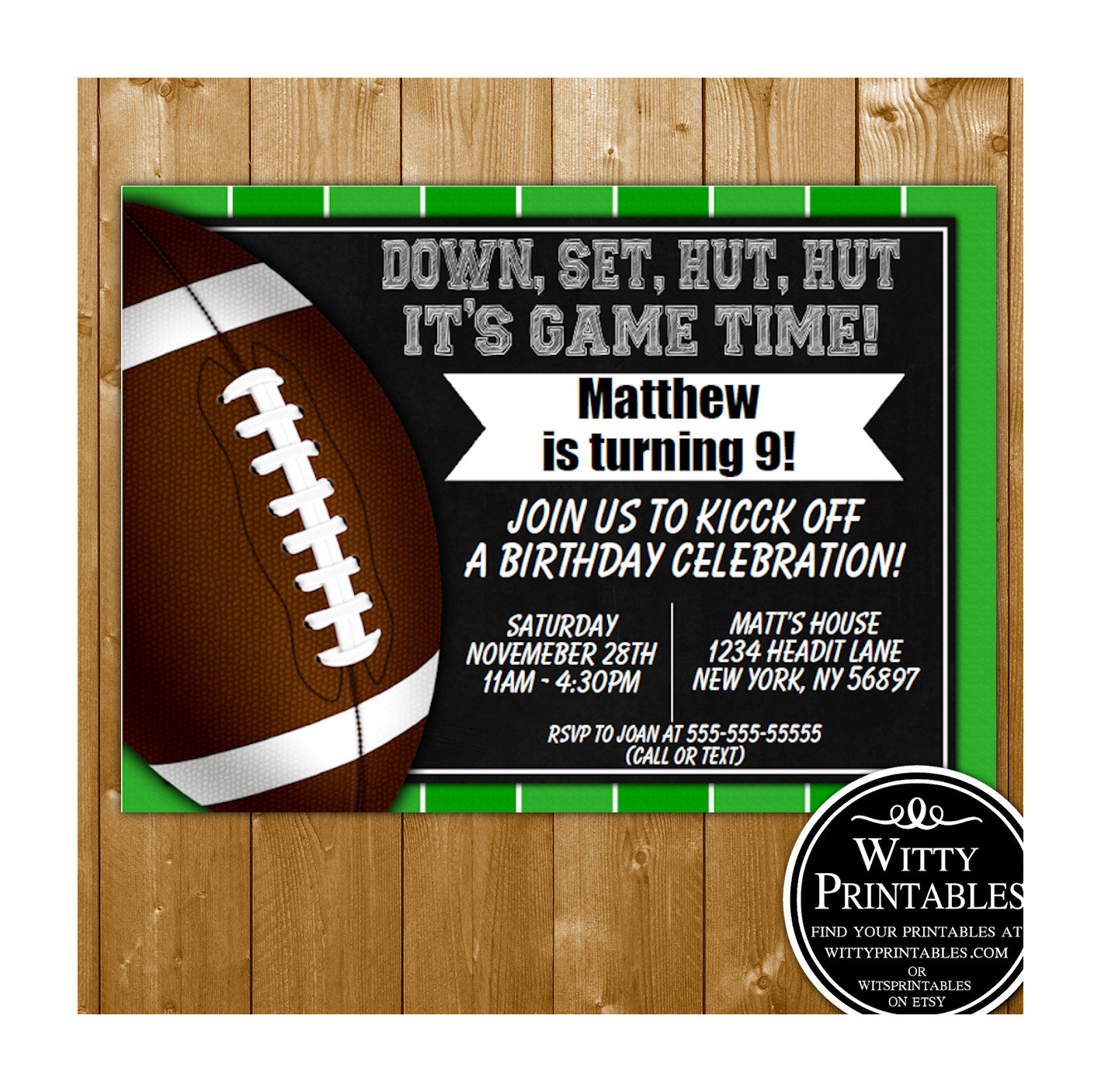 Best ideas about Football Birthday Party Invitations . Save or Pin Football Party Invitation Printable Digital Download Now.