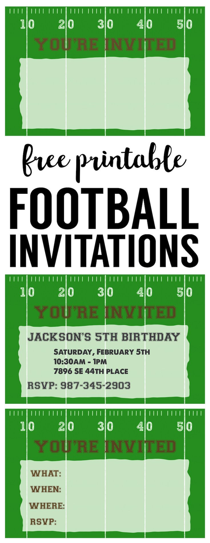 Best ideas about Football Birthday Party Invitations . Save or Pin Football Party Invitation Template Free Printable Now.