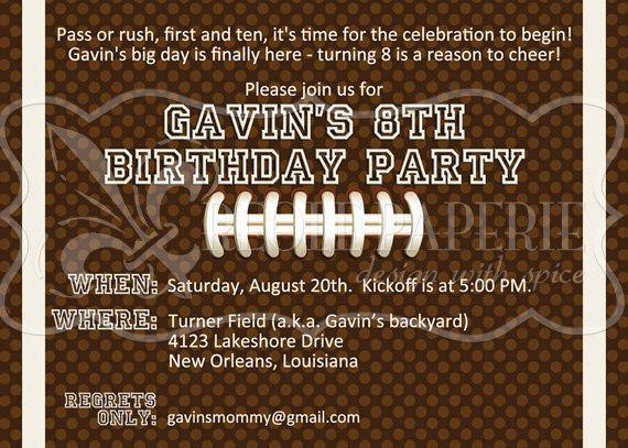 Best ideas about Football Birthday Party Invitations . Save or Pin Football birthday party invitation Now.