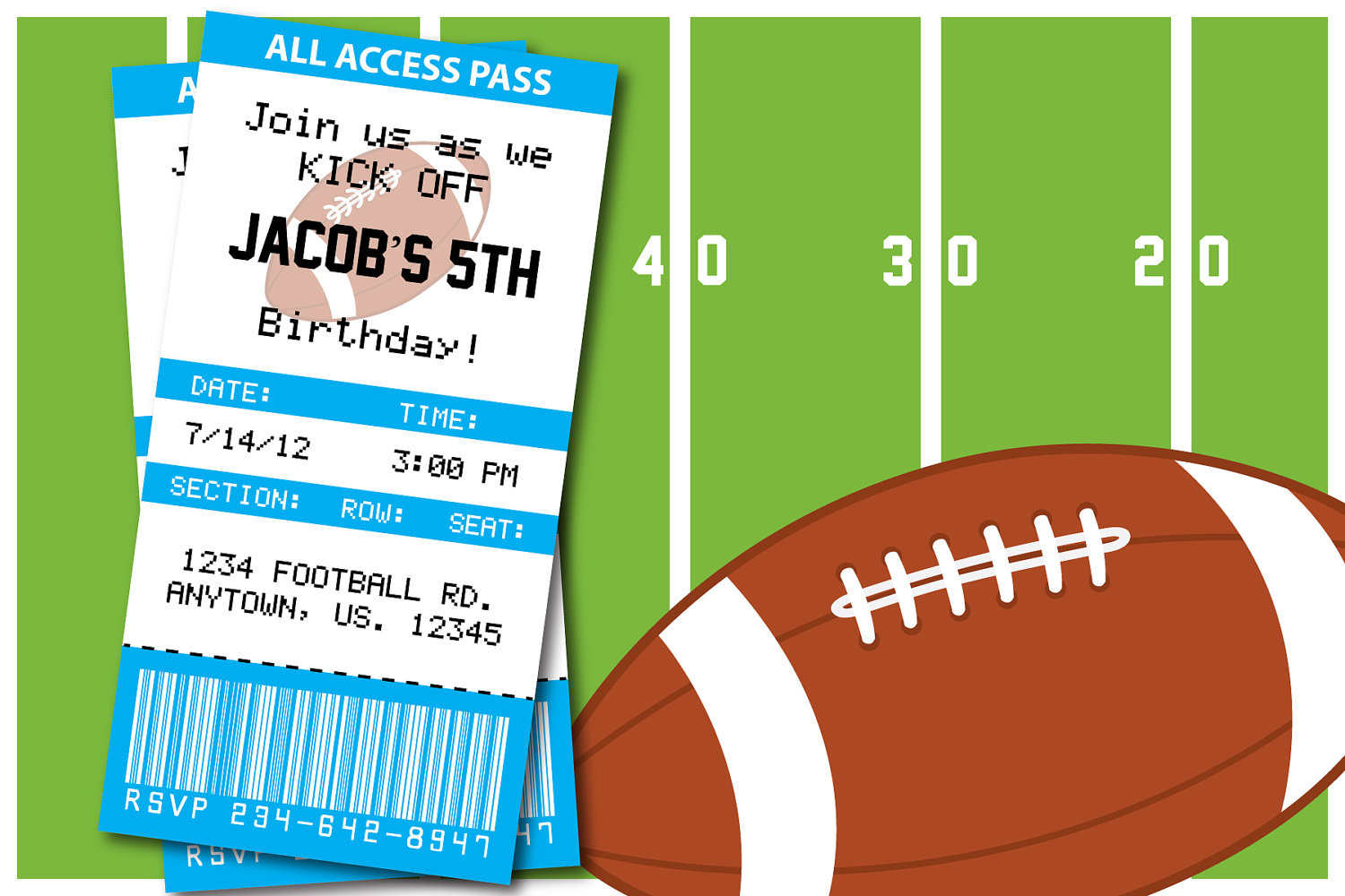 Best ideas about Football Birthday Party Invitations . Save or Pin Football Themed Birthday Party or superbowl by Now.