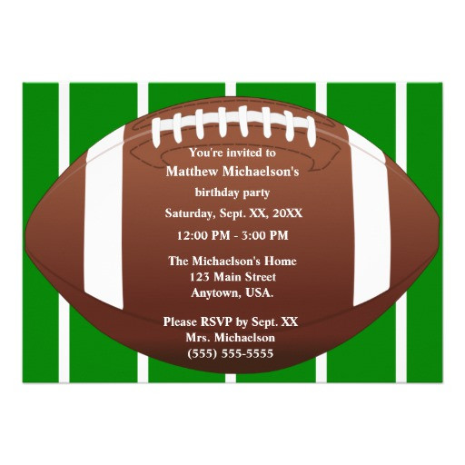 Best ideas about Football Birthday Party Invitations . Save or Pin Football With Green Football Field Birthday Party 5x7 Now.