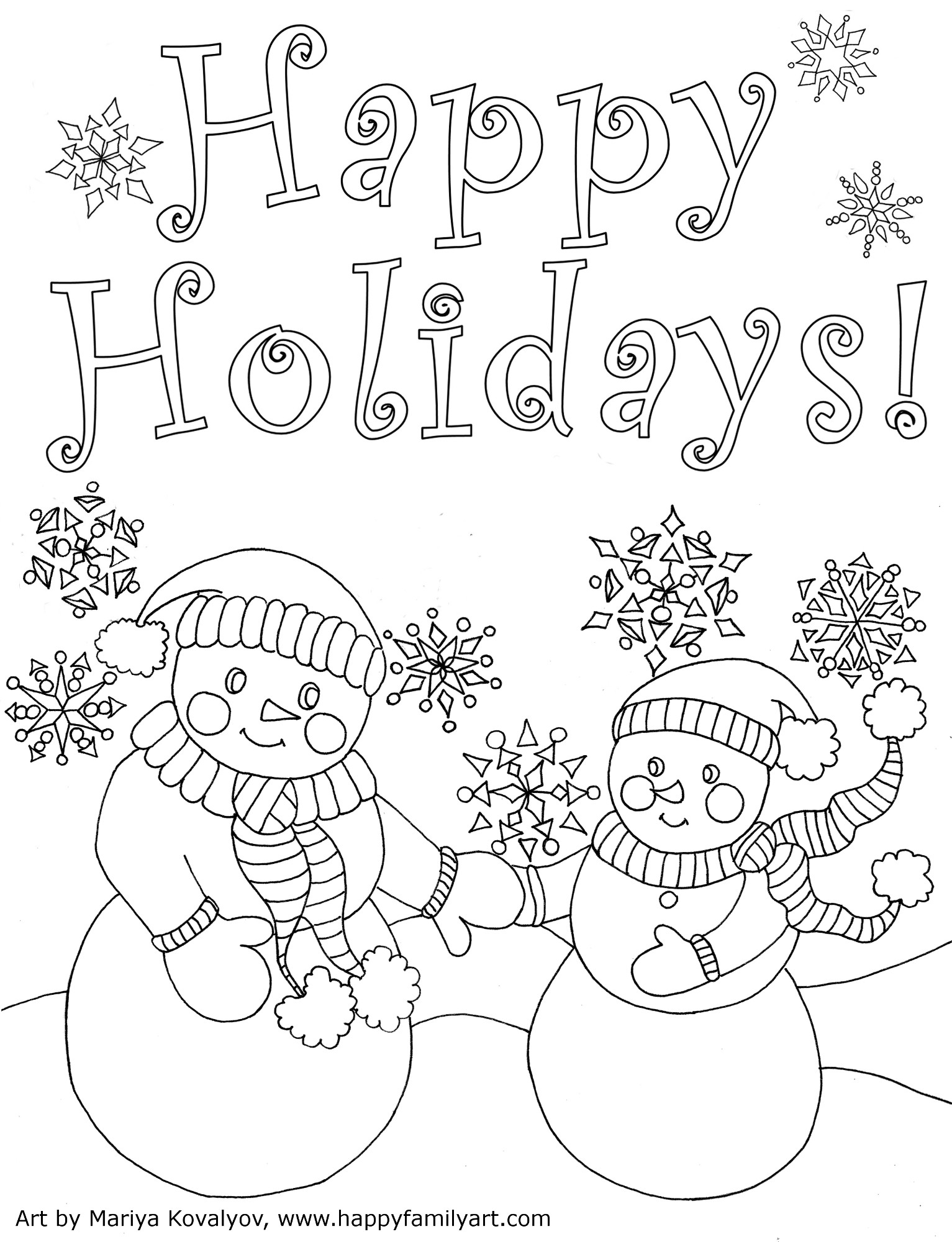 Best ideas about Free Christmas Printable Coloring Sheets For Kids . Save or Pin Happy Family Art original and fun coloring pages Now.