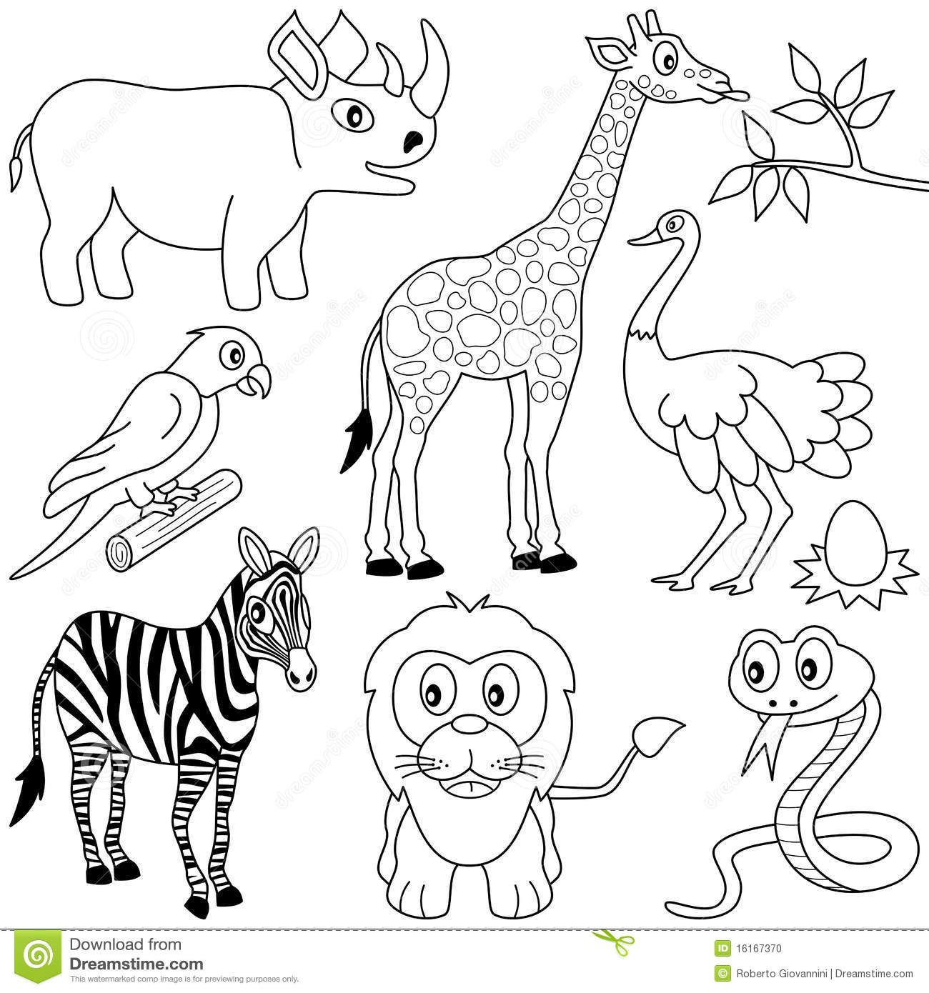 Best ideas about Free Coloring Pages African Animals . Save or Pin Coloring African Animals [1] Stock Vector Illustration Now.