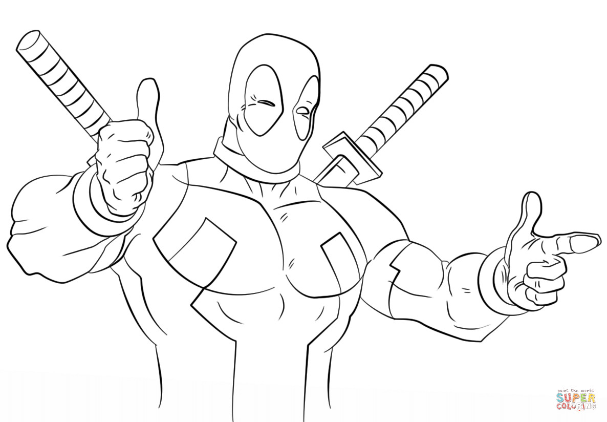 Best ideas about Free Coloring Pages Deadpool . Save or Pin Cartoon Deadpool coloring page Now.