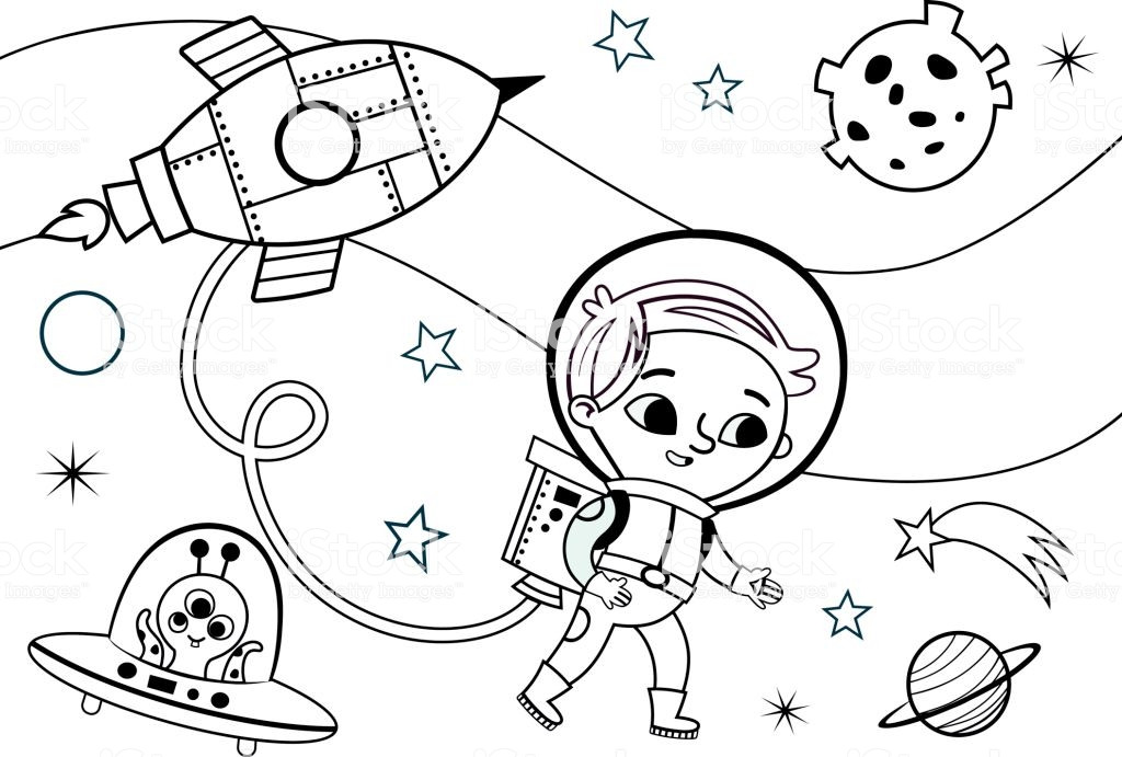 Best ideas about Free Coloring Pages Outer Space . Save or Pin Space Coloring Page For Kids Stock Vector Art & More Now.