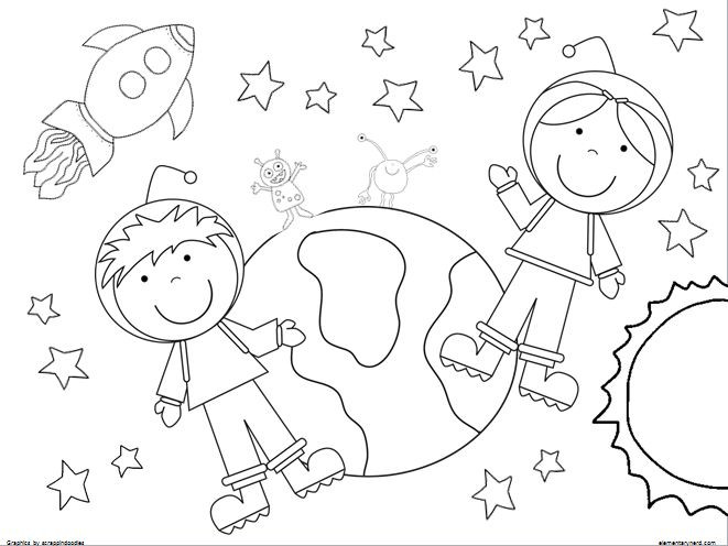 Best ideas about Free Coloring Pages Outer Space . Save or Pin 2 Coloring Pages Boy and girl astronaut Outer space Now.