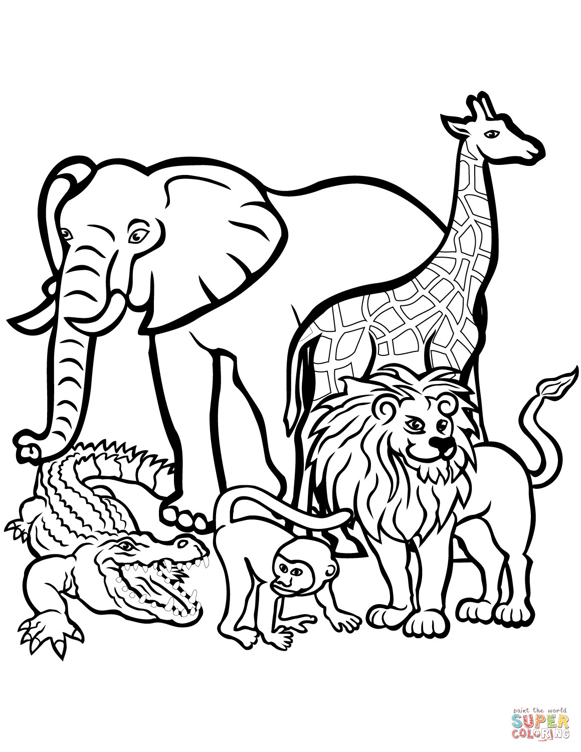Best ideas about Free Coloring Pages Wild Animals . Save or Pin African Animals coloring page Now.