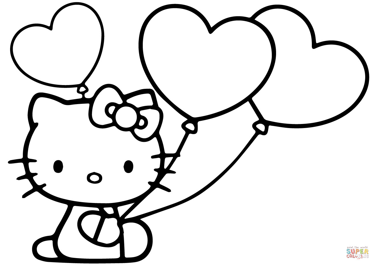 Best ideas about Free Hello Kitty Coloring Pages For Girls . Save or Pin Hello Kitty with Heart Balloons coloring page Now.