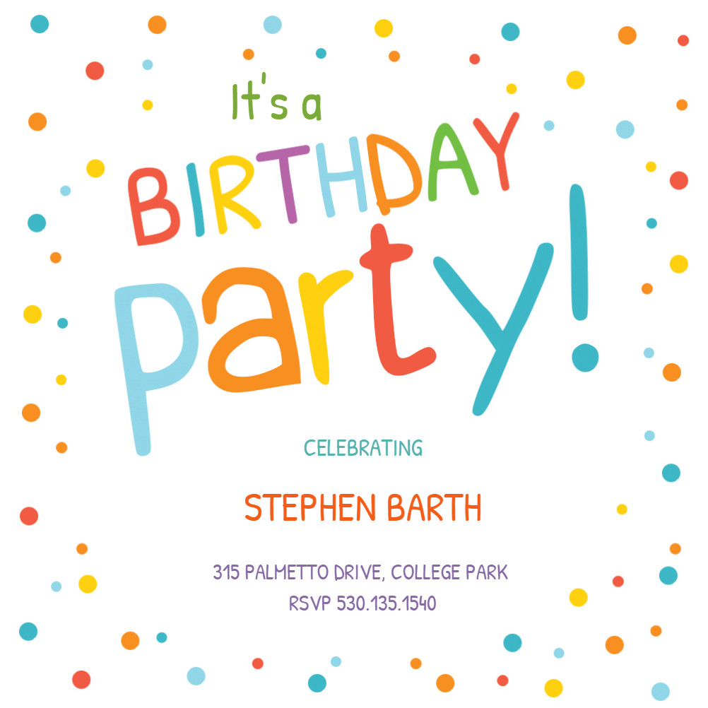 Best ideas about Free Kids Birthday Invitations . Save or Pin Confetti Dots Border Birthday Invitation Template Free Now.
