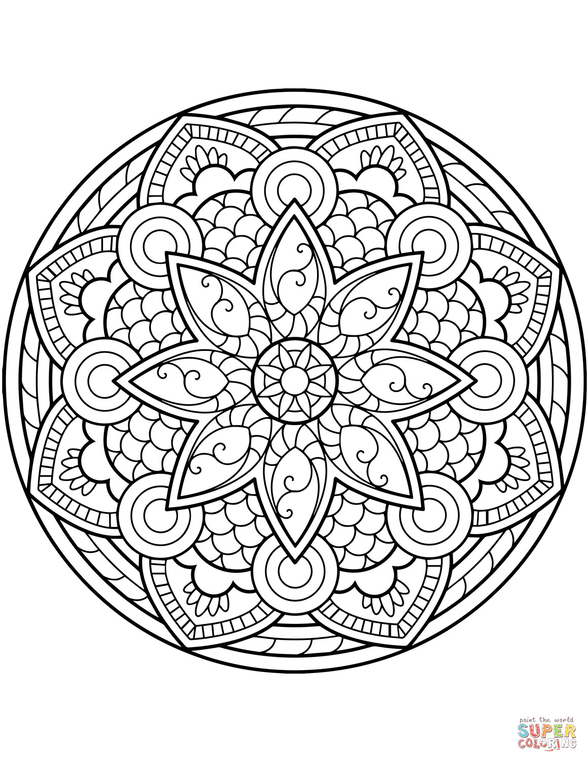 Best ideas about Free Mandala Coloring Pages For Adults . Save or Pin Flower Mandala coloring page Now.
