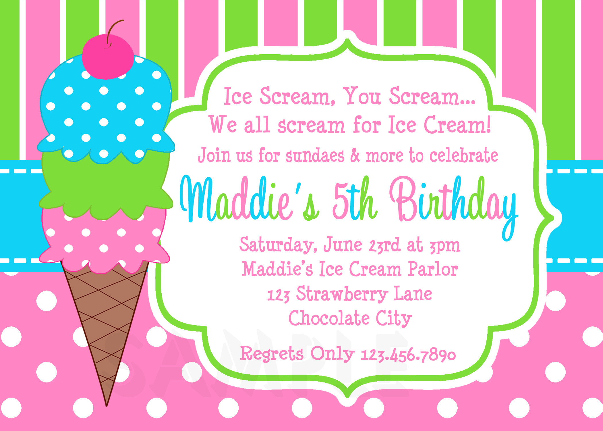 Best ideas about Free Printable Birthday Invitations For Girl . Save or Pin Printable Birthday Invitations Girls Ice Cream Party Now.