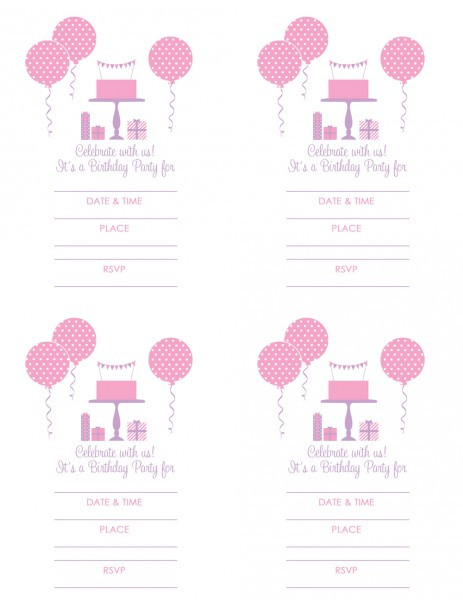 Best ideas about Free Printable Birthday Invitations For Girl . Save or Pin FREE Pink and Purple Girl Birthday Printables from Green Now.