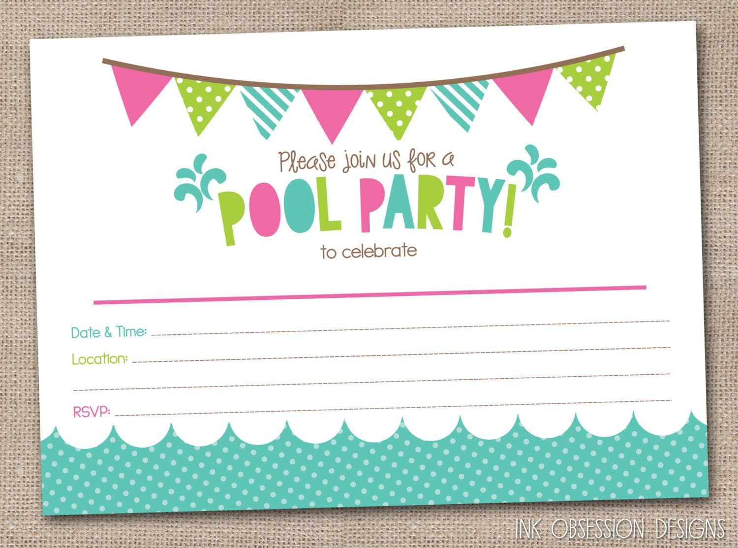 Best ideas about Free Printable Birthday Invitations For Girl . Save or Pin Free Printable Pool Party Birthday Invitations Now.