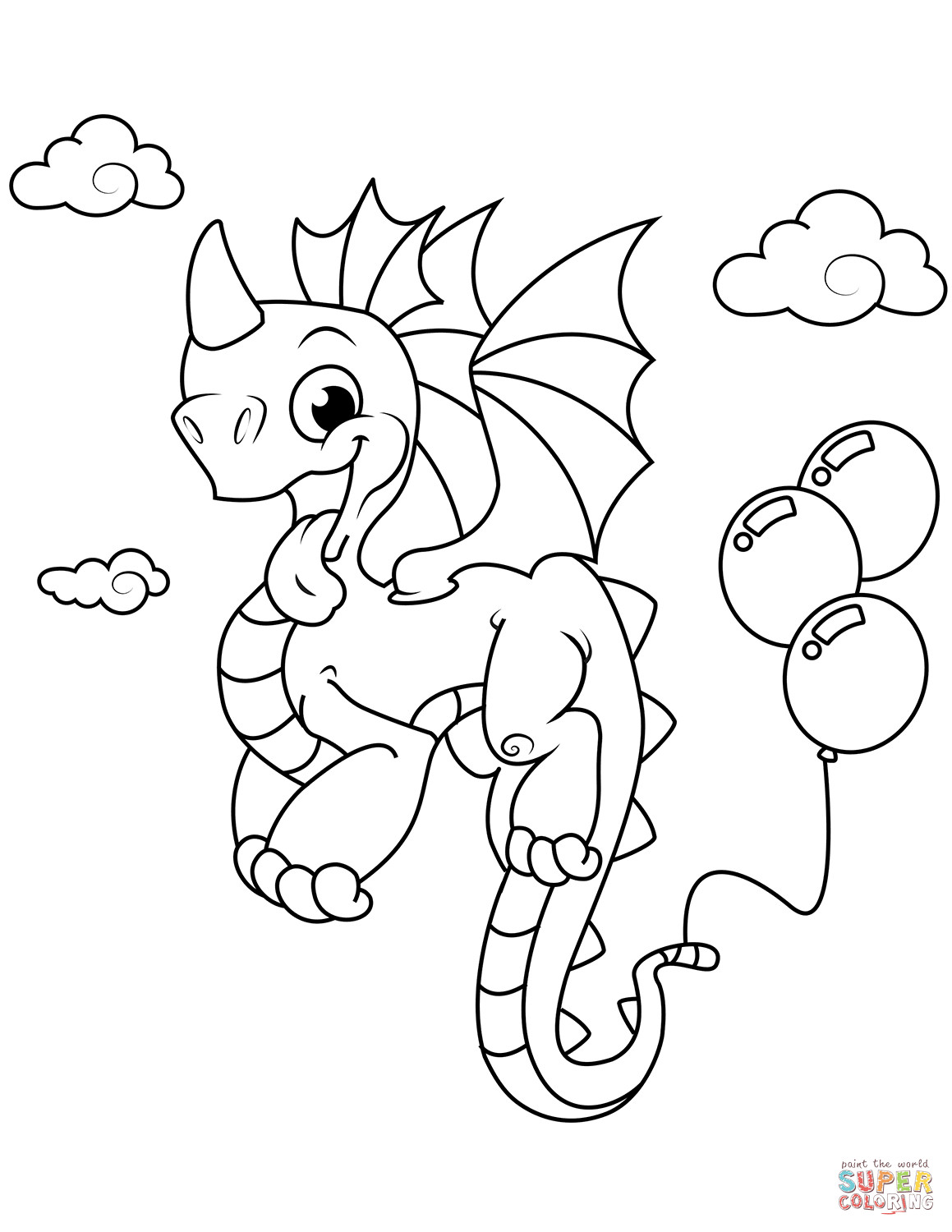 Best ideas about Free Printable Coloring Pages Dragons . Save or Pin Cute Dragon with Balloons coloring page Now.