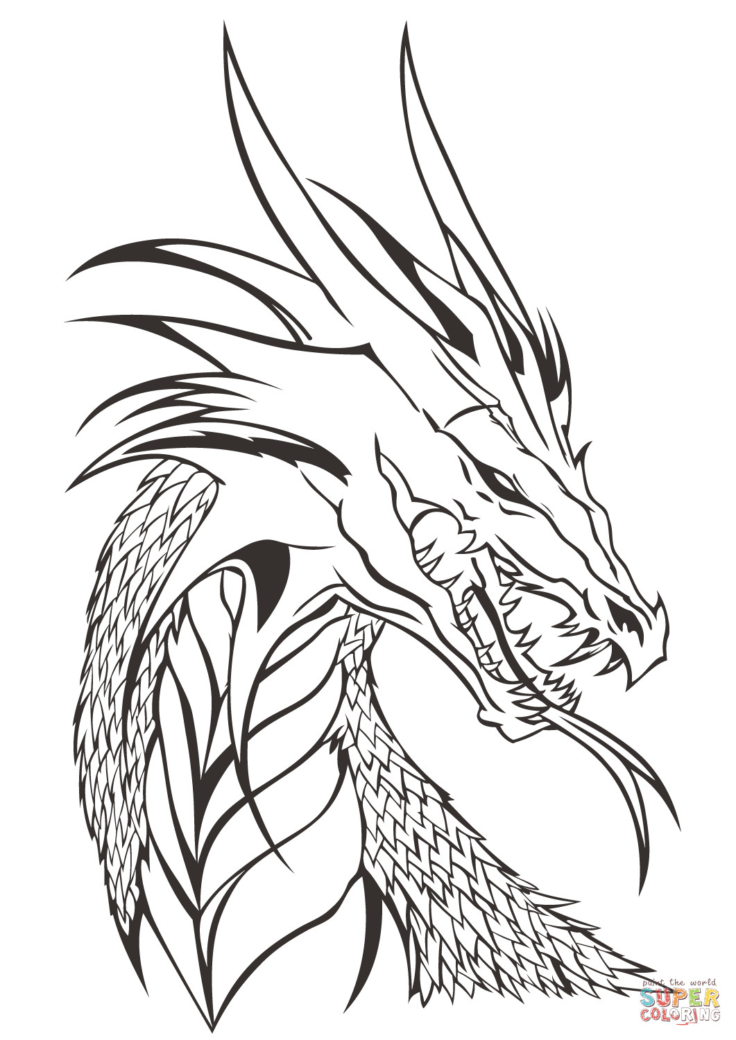 Best ideas about Free Printable Coloring Pages Dragons . Save or Pin Dragon Head coloring page Now.