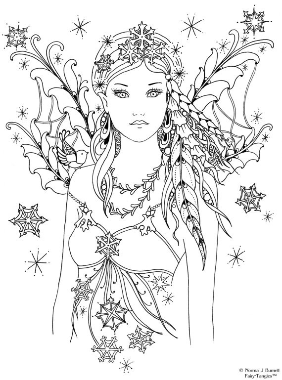Best ideas about Free Printable Coloring Pages For Adults Dark Fairies . Save or Pin Items similar to Snowbird Fairy Tangles Printable 4x6 inch Now.