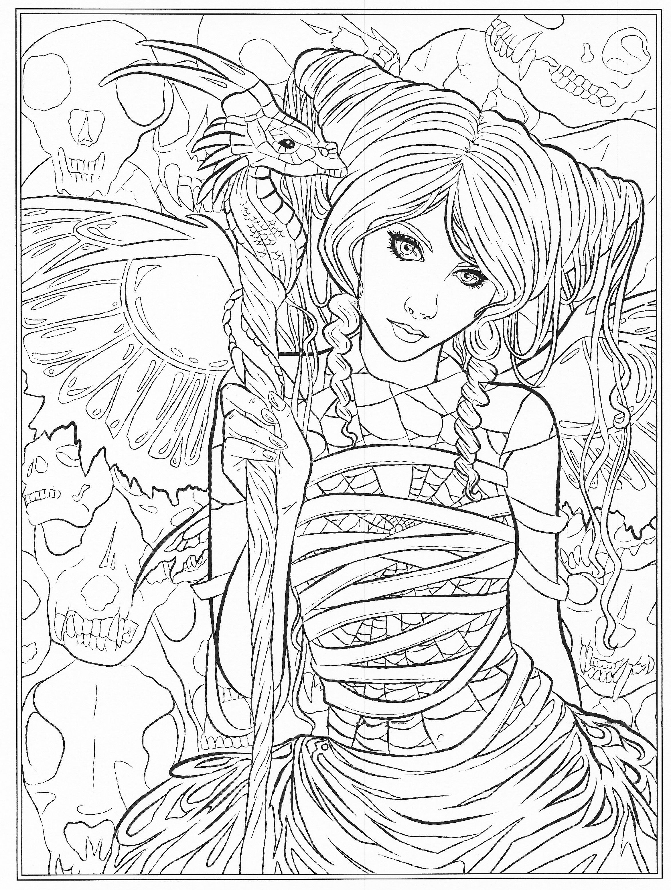 """Best ideas about Free Printable Coloring Pages For Adults Dark Fairies . Save or Pin Selina Fenech s holiday book """"Gothic Dark Fantasy Now."""