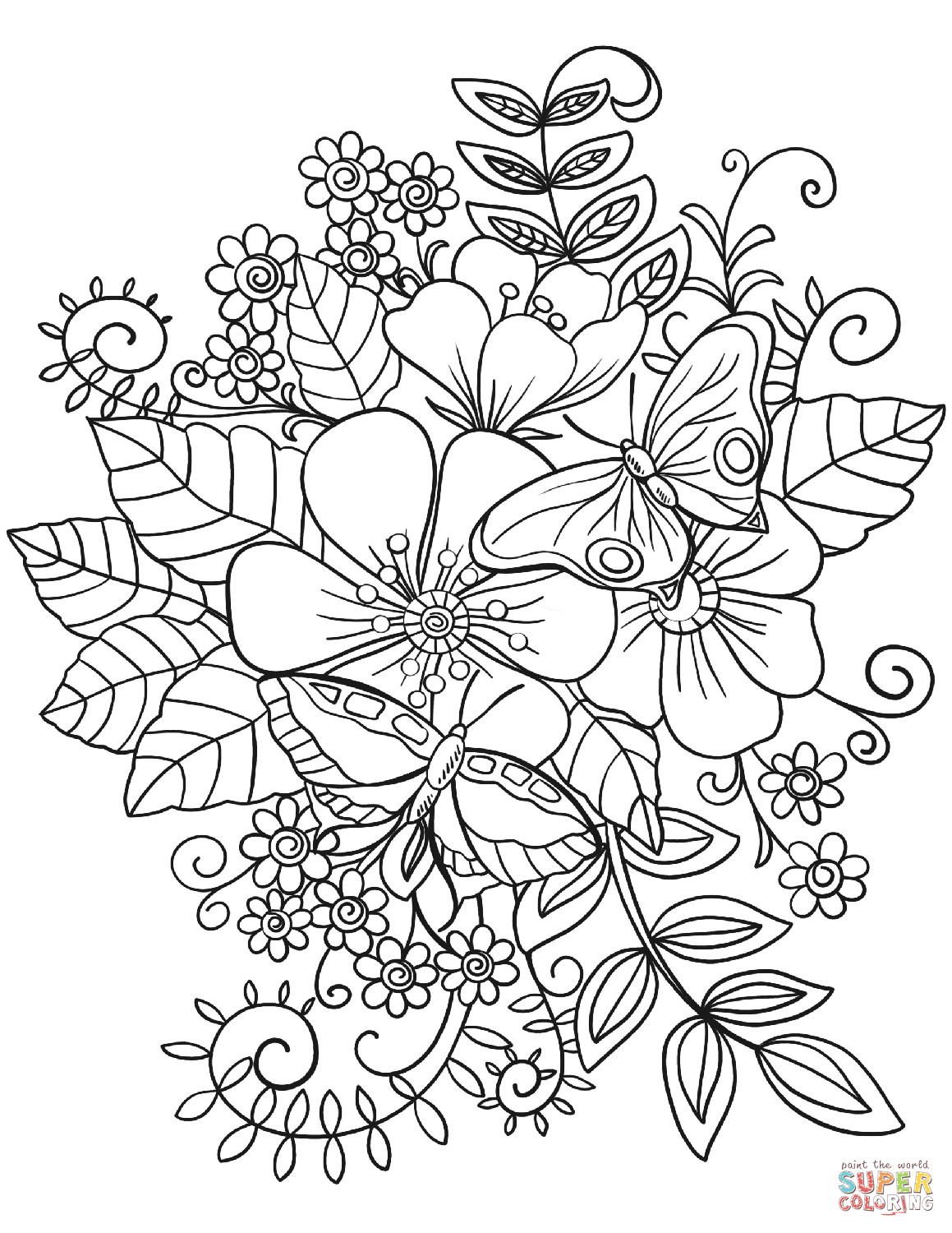 Best ideas about Free Printable Of Roses Coloring Pages For Girls Pinterest. . Save or Pin Butterflies on Flowers coloring page Now.