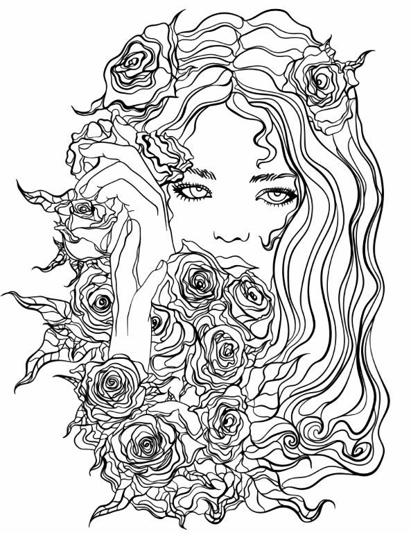 Best ideas about Free Printable Of Roses Coloring Pages For Girls Pinterest. . Save or Pin Pretty Girl with Flowers coloring page Now.