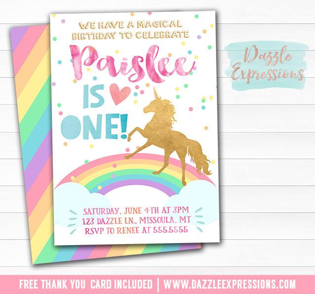Best ideas about Free Printable Unicorn Birthday Invitations . Save or Pin Printable Rainbow Unicorn Birthday Invitation Watercolor Now.