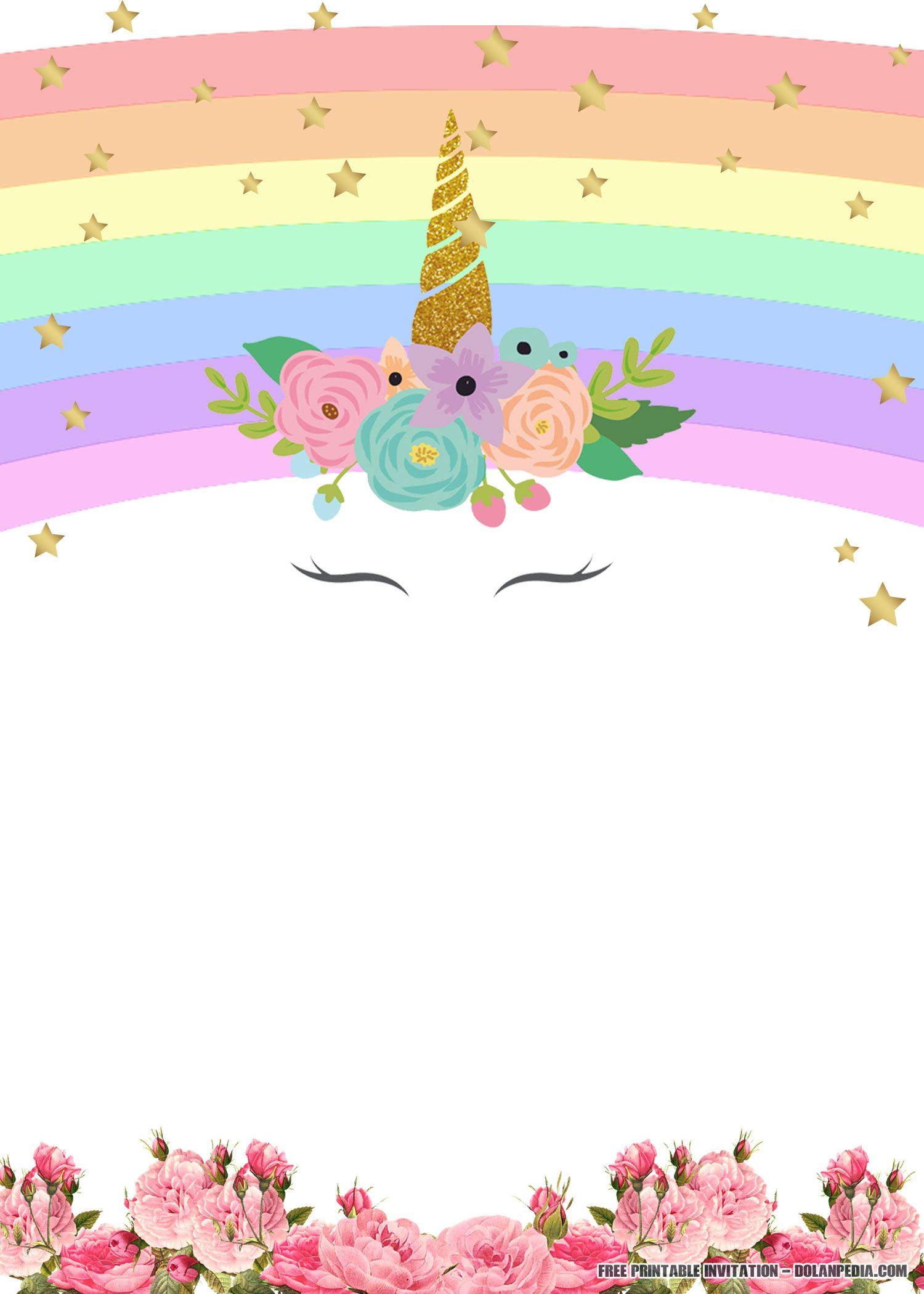 Best ideas about Free Printable Unicorn Birthday Invitations . Save or Pin FREE Printable Unicorn Rainbow Invitation Now.
