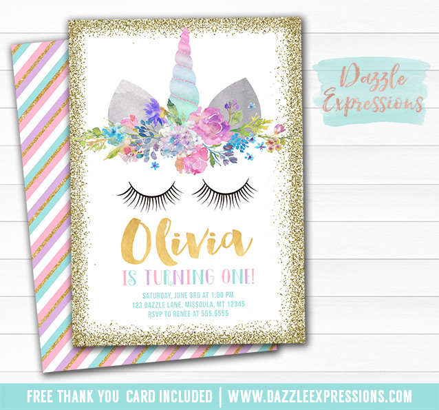 Best ideas about Free Printable Unicorn Birthday Invitations . Save or Pin Printable Unicorn Face and Gold Glitter Birthday Now.