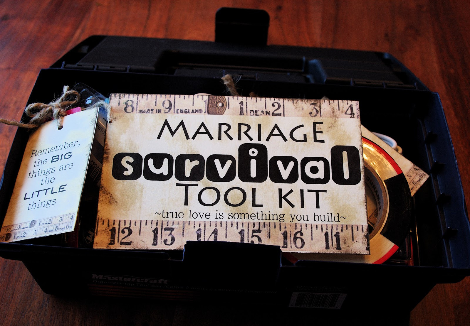"""Best ideas about Fun Wedding Gift Ideas . Save or Pin Creative """"Try""""als Marriage Survival Tool Kit Now."""