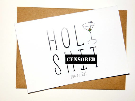 Best ideas about Funny 21st Birthday Cards . Save or Pin Funny 21st Birthday Card 21 Birthday Card Holy Now.