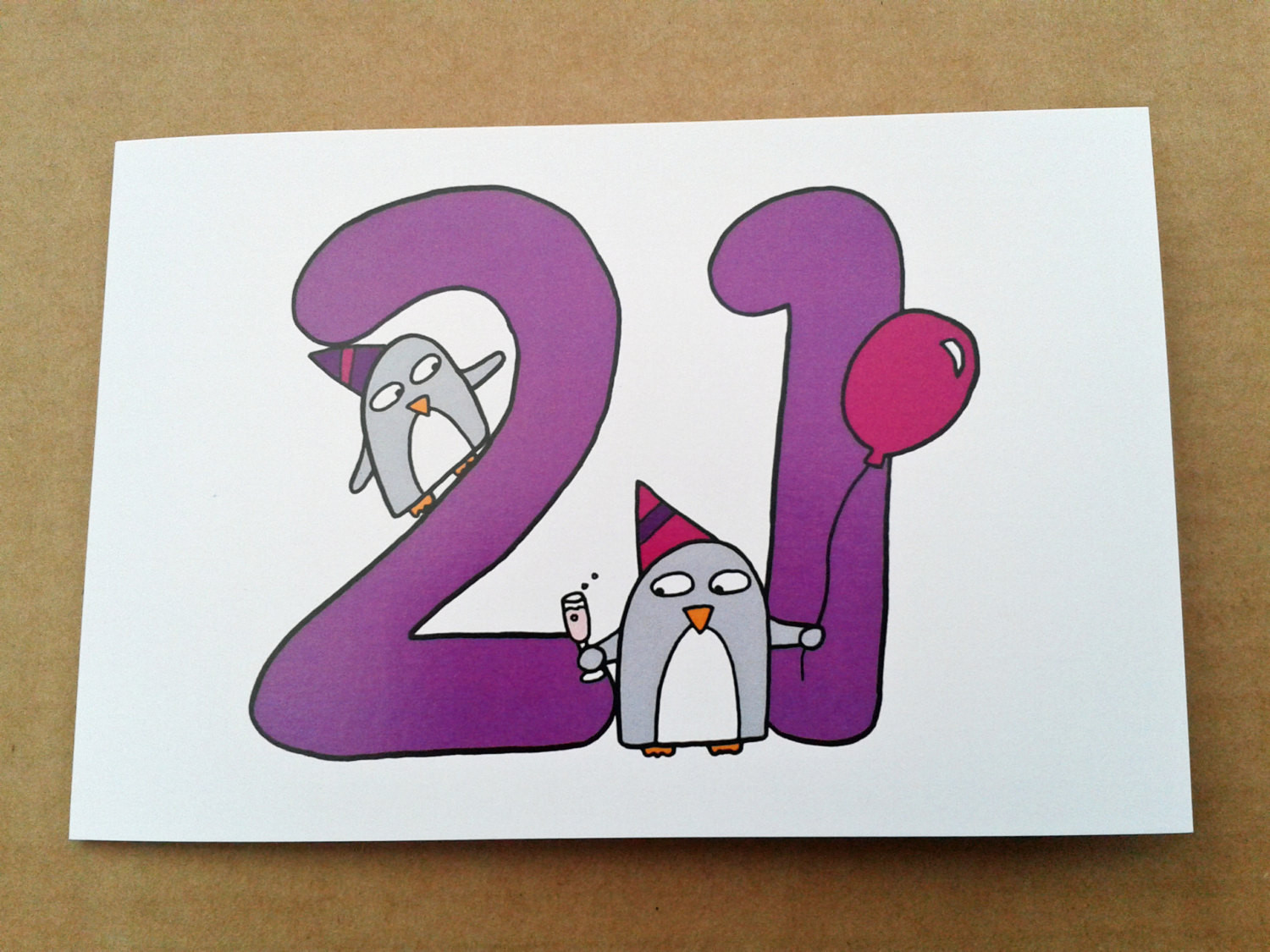 Best ideas about Funny 21st Birthday Cards . Save or Pin 21st Birthday card Funny Cute Penguins by penguinparadeshop Now.
