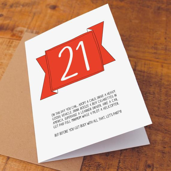 Best ideas about Funny 21st Birthday Cards . Save or Pin 21st Birthday Card Funny Birthday Card Funny 21 Card Now.