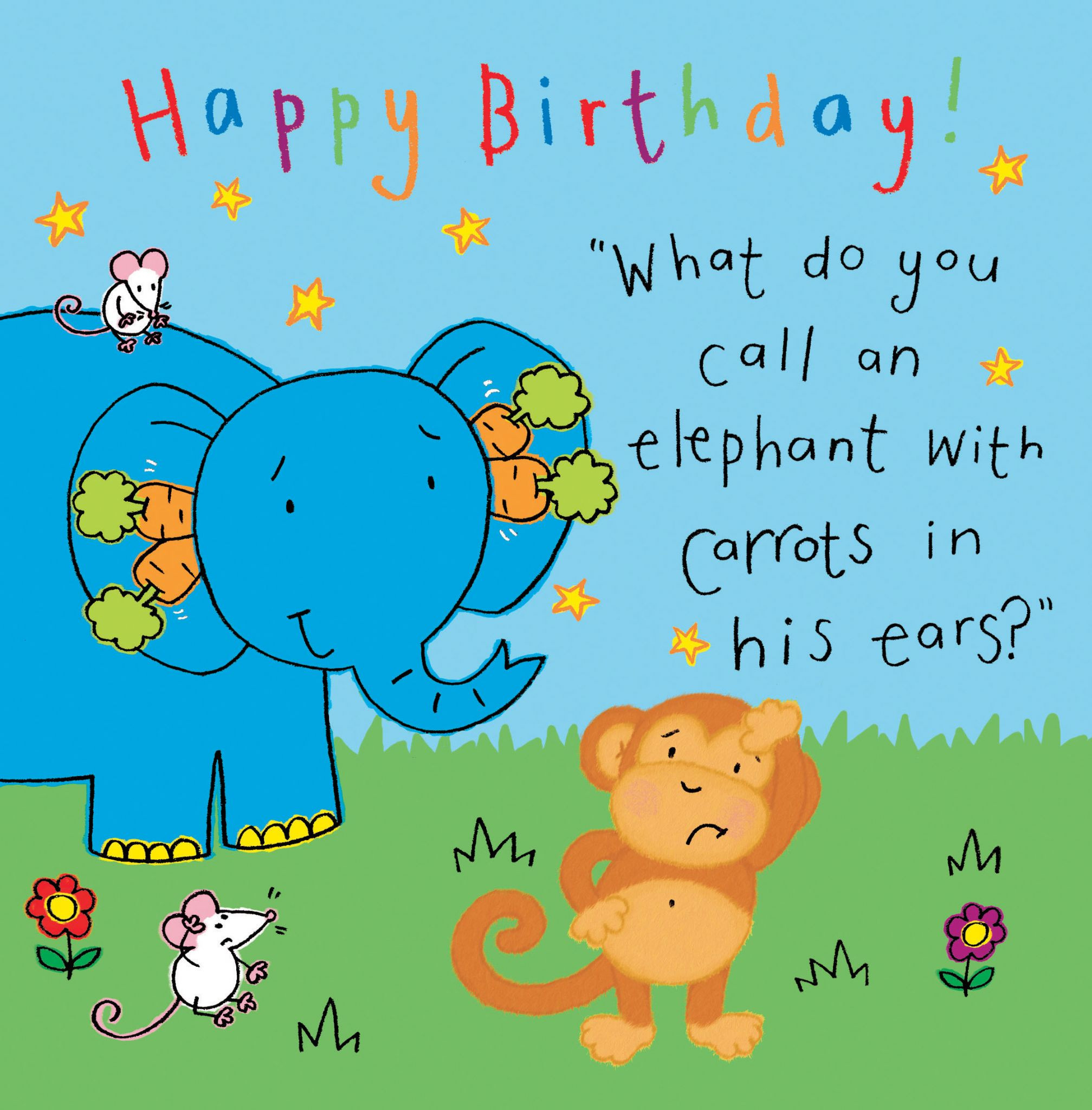 Best ideas about Funny Birthday Cards For Kids . Save or Pin Elephant Funny Joke Birthday Card For Kids TW431 Now.