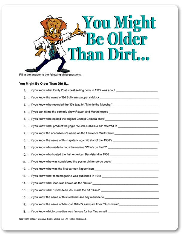 Best ideas about Funny Birthday Games For Adults . Save or Pin Printable You Might Be Older Than Dirt Now.