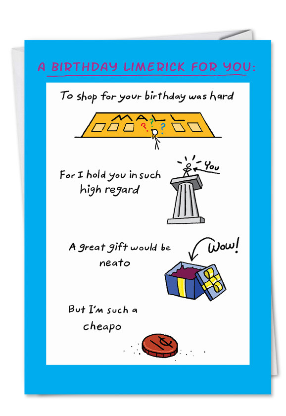 Best ideas about Funny Birthday Limericks . Save or Pin Birthday Limerick Funny Cartoons Happy Birthday Card Now.