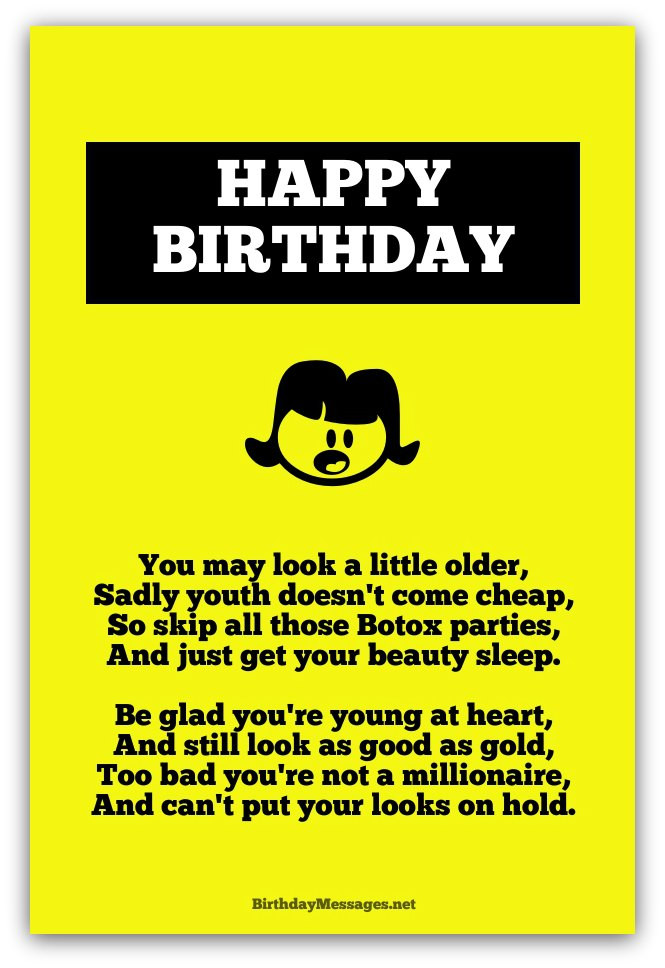 Best ideas about Funny Birthday Poems For Her . Save or Pin Funny Birthday Poems Funny Birthday Messages Now.