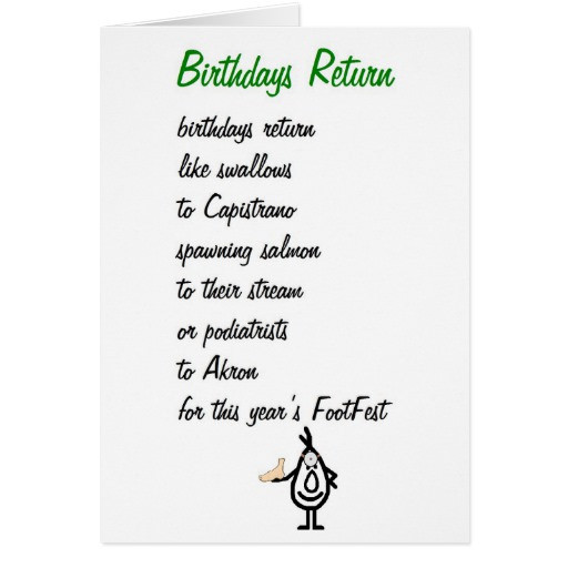 Best ideas about Funny Birthday Poems . Save or Pin Birthdays Return a funny birthday poem Card Now.