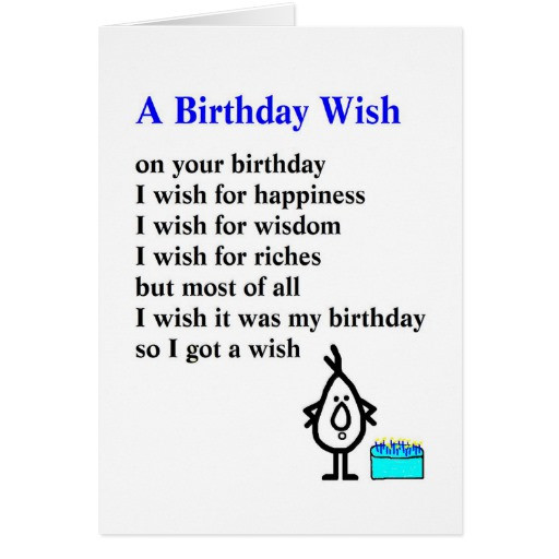 Best ideas about Funny Birthday Poems . Save or Pin A Birthday Wish a funny birthday poem Card Now.