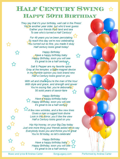 Best ideas about Funny Birthday Song Lyrics . Save or Pin 50th Birthday Quotes For Women QuotesGram Now.