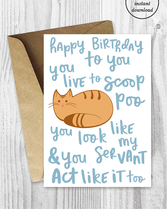Best ideas about Funny Birthday Songs . Save or Pin Funny Birthday Song Card from the Cat Printable Funny Happy Now.