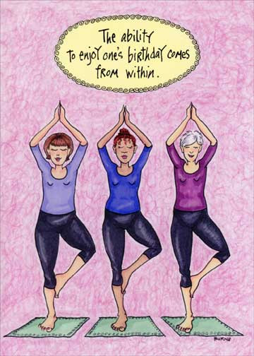 Best ideas about Funny Birthday Wishes For Women . Save or Pin Posing Yoga Women Funny Birthday Card Greeting Card by Now.