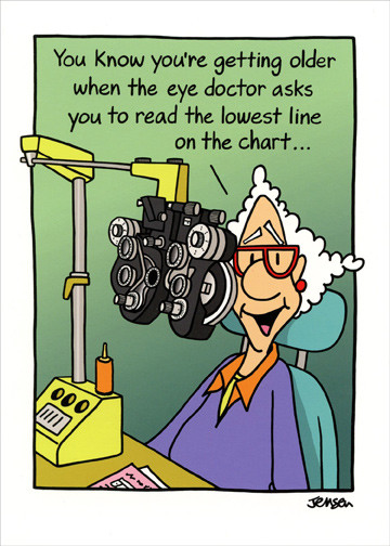 Best ideas about Funny Birthday Wishes For Women . Save or Pin Woman At Eye Doctor Funny Birthday Card Greeting Card by Now.