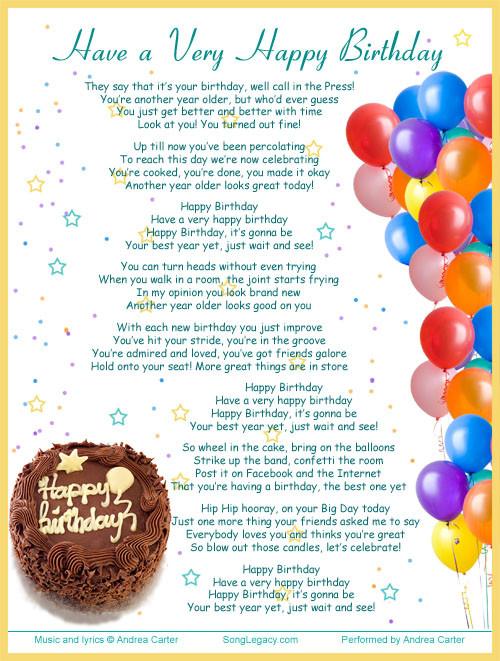Best ideas about Funny Happy Birthday Songs For Adults . Save or Pin Birthday songs 40th birthday and Lyrics on Pinterest Now.
