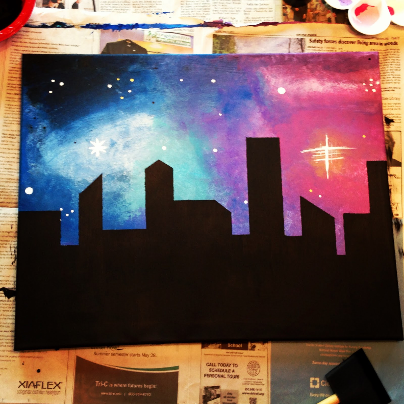 Best ideas about Galaxy Paint DIY . Save or Pin Galaxy Skyline Now.